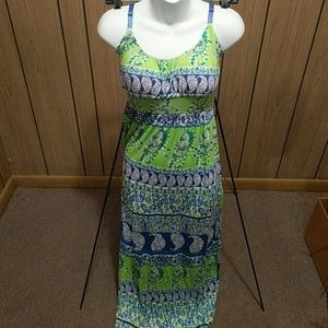 Lime green and varsity blue maxi dress